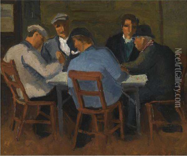 The Card Players Oil Painting - Christopher Wood
