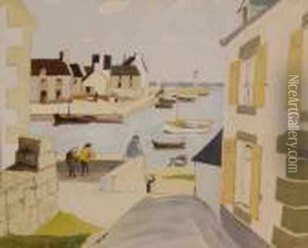 Fishing Harbour Scene Oil Painting - Christopher Wood