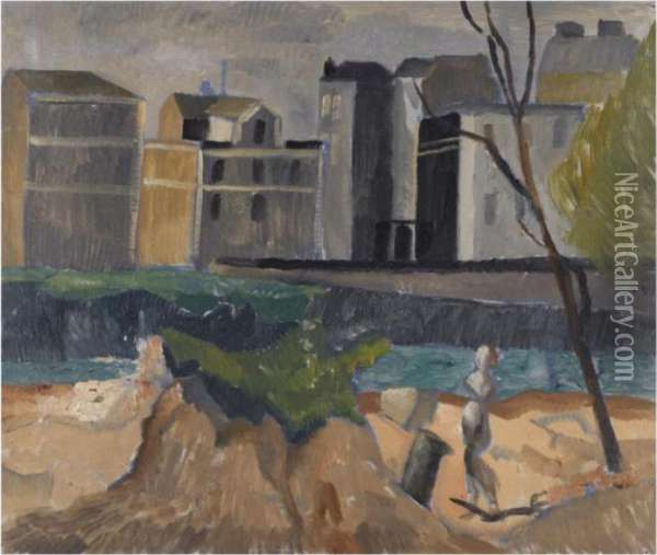 Landscape, Outskirts Of Paris Oil Painting - Christopher Wood