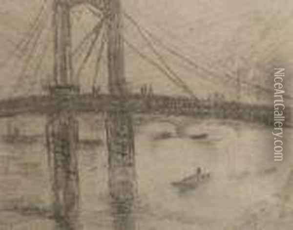 Bridge On The Thames Oil Painting - Christopher Wood