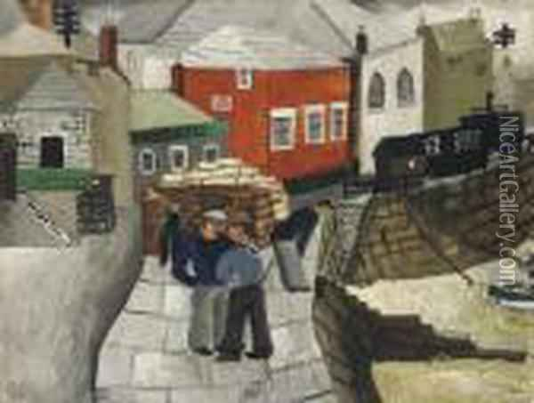 The Red Cottage, Mousehole, Cornwall Oil Painting - Christopher Wood