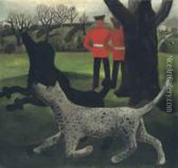 Dogs At Play Oil Painting - Christopher Wood
