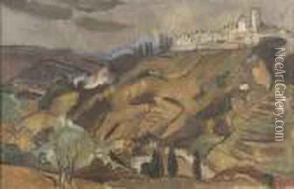 Landscape At Vence Oil Painting - Christopher Wood