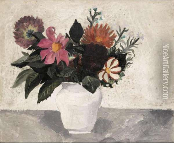 Dahlias In A White Pot Oil Painting - Christopher Wood