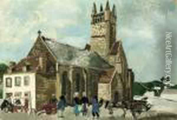 Church And Market, Brittany Oil Painting - Christopher Wood