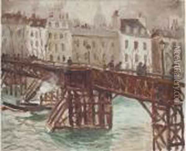 Wooden Bridge On The Seine Oil Painting - Christopher Wood