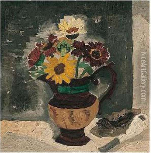 Daisies In A Lustre Jug Oil Painting - Christopher Wood