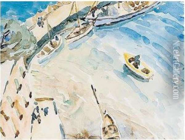 In Harbour Oil Painting - Christopher Wood