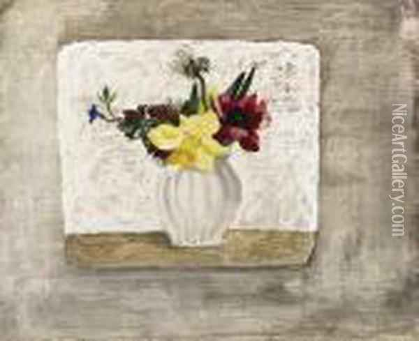 Spring Flowers In A White Jar Oil Painting - Christopher Wood