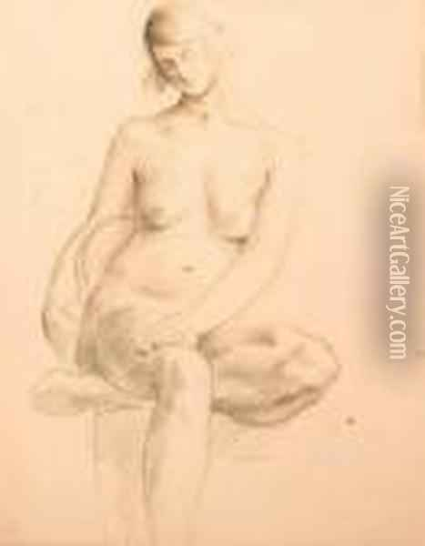 Seated Female Nude Oil Painting - Christopher Wood