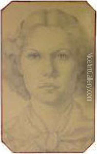 Portrait Of Young Woman Wearing Kerchief Oil Painting - Grant Wood