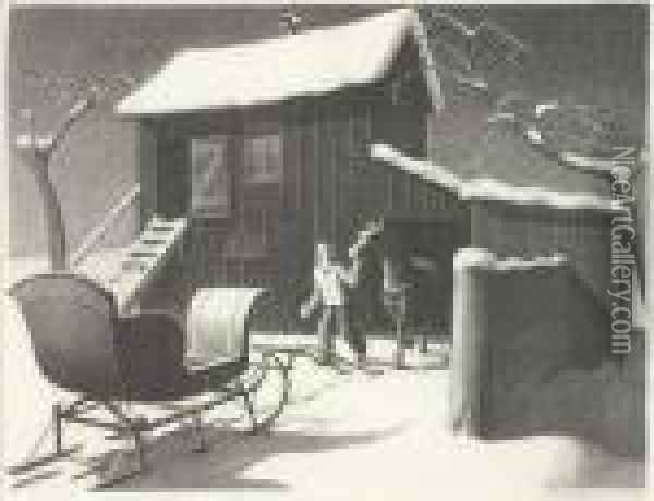 December Afternoon Oil Painting - Grant Wood