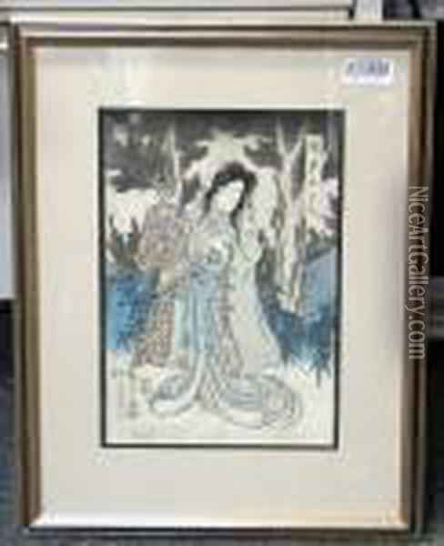Framed And Glazed; Depicting A Kabuki Actor Oil Painting - Grant Wood
