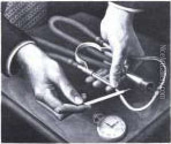 Family Doctor (c. 18) Oil Painting - Grant Wood