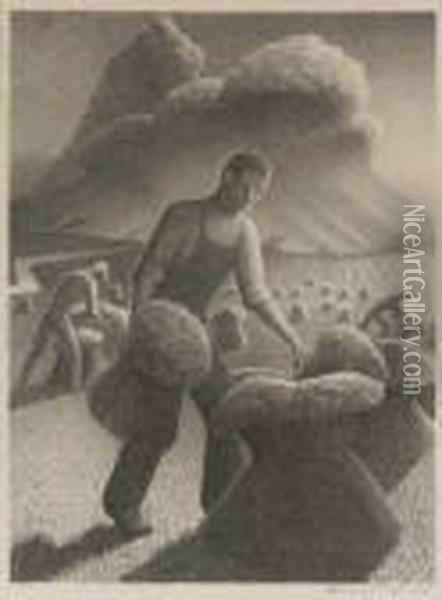 Approaching Storm Oil Painting - Grant Wood