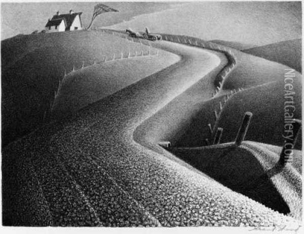 Untitled Oil Painting - Grant Wood