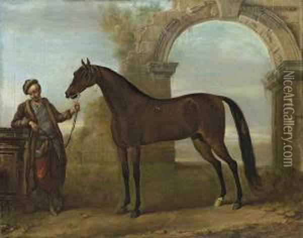 The Godolphin Arabian, Held By A Groom, In A Landscape With Aruined Arch Oil Painting - John Wootton