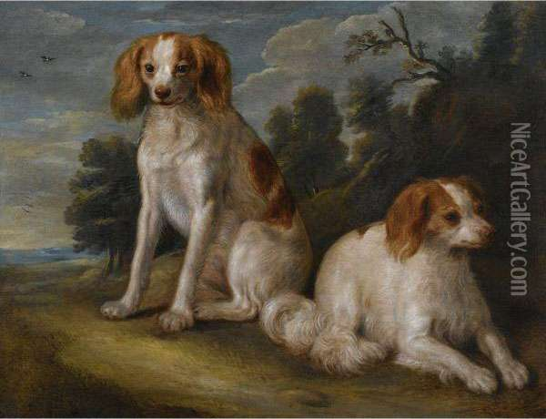 Two Spaniels In A Landscape Oil Painting - John Wootton