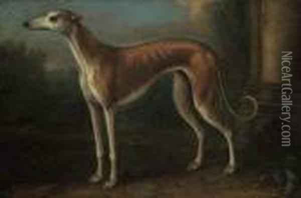 A Greyhound In A Landscape Oil Painting - John Wootton