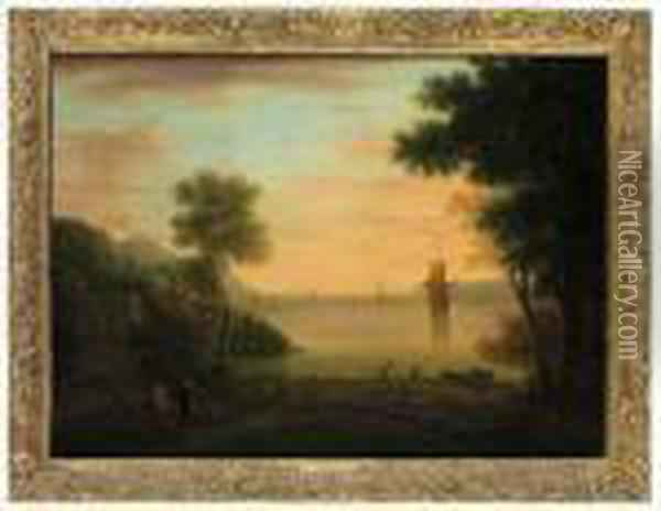 An Italianate Landscape At Sunset, With Figures And Fishermen Inthe Foreground Oil Painting - John Wootton