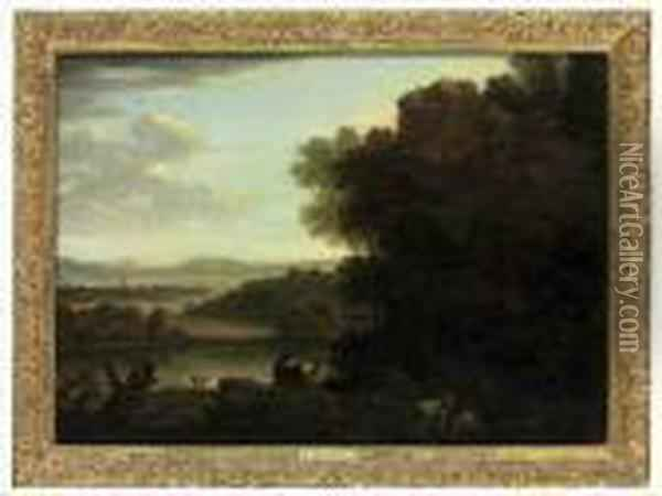 An Extensive River Landscape, With A Goatherd And Goats Oil Painting - John Wootton