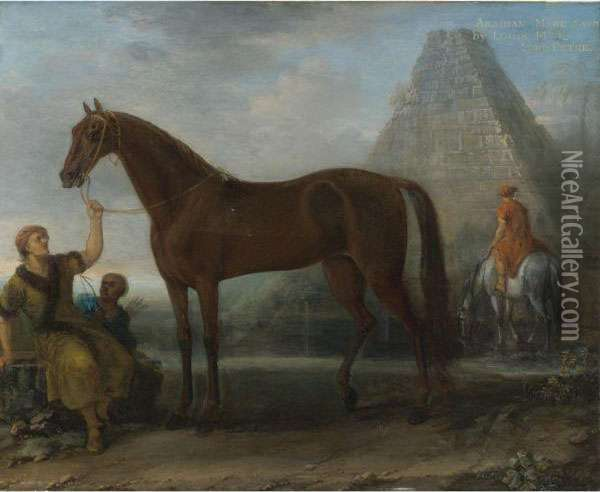 A Dark Chestnut Arabian Mare,  Given By King Louix Xiv To Lord Petreheld By A Groom In A Landscape Oil Painting - John Wootton