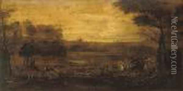 A Hunt In An Extensive Landscape With Buildings Beyond Oil Painting - John Wootton