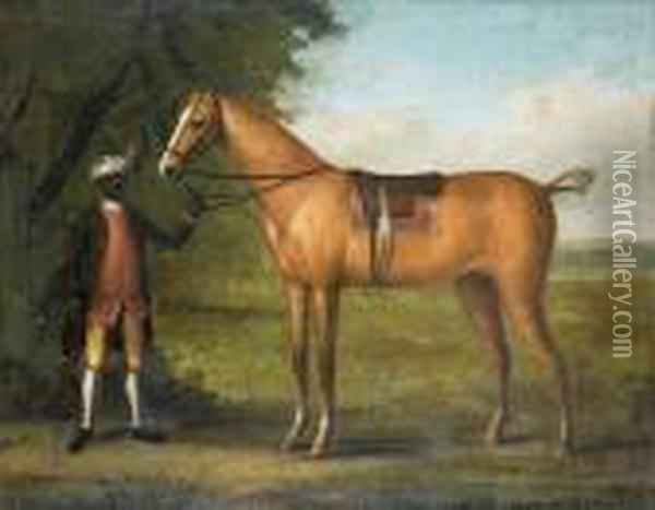 A Page Holding A Racehorse Oil Painting - John Wootton