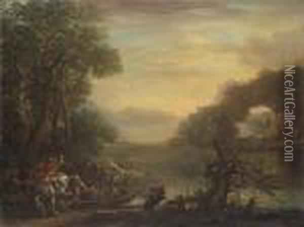 An Extensive River Landscape,  With Cavaliers Embarking On A Ferry, Sailing Boats Anchored At The Shore  Beyond Oil Painting - John Wootton