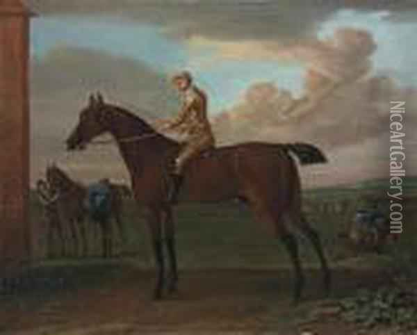 Wanton, A Bay Racehorse With Jockey Up, At Newmarket Oil Painting - John Wootton