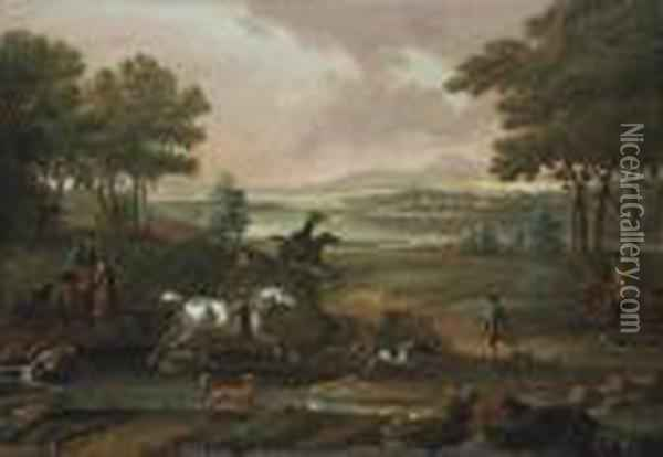 A Staghunt, With Hounds And 
