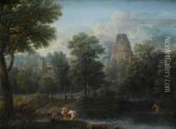 An Italianate River Landscape With Fishermenhauling In Their Nets Oil Painting - John Wootton