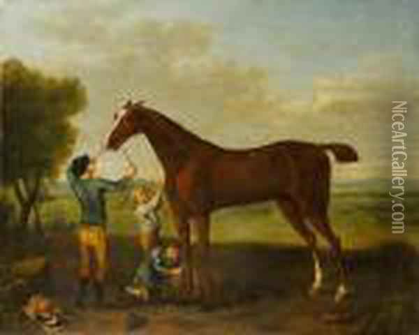 Lord Essex's Smiling Ball Held  By His Jockey,being Rubbed Down After His Victory In The Race Depicted  In Thedistance Oil Painting - John Wootton