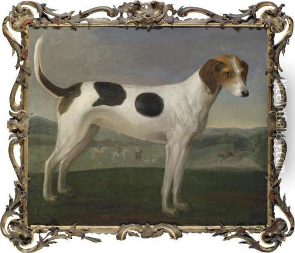 A Hound In A Landscape, A Hunt Beyond Oil Painting - John Wootton