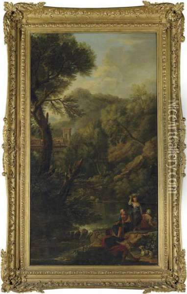 A Classical Landscape With Shepherds And Washerwomen By Astream Oil Painting - John Wootton