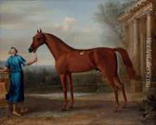 Mr Charles Wilson's Chestnut Arabian, Held By A Groom, Beside A Classical Building Oil Painting - John Wootton