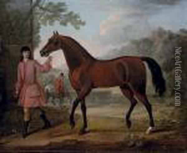The Leedes Arabian, Being Led By A Groom, In A Landscape Oil Painting - John Wootton