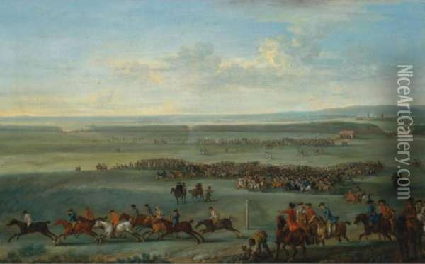 The Prince Of Wales At A Race Meeting On Newmarket Heath Oil Painting - John Wootton