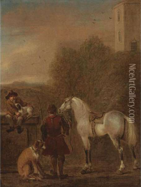 A Horse And His Groom Oil Painting - John Wootton