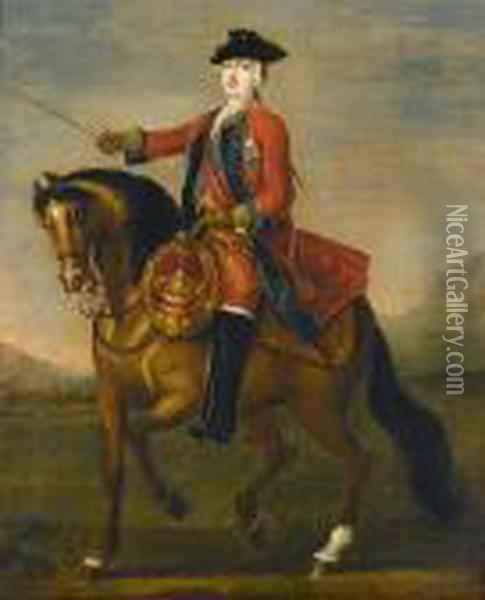 An Equestrian Portrait Of  William Augustus, Duke Of Cumberland In The Uniform Of The 1st Guards,  With The Ribbon And Star Of The Garter, In A Landscape Oil Painting - John Wootton