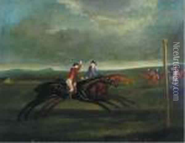 Marc Anthony Leading Chalkstone On The Beacon Course Oil Painting - John Wootton