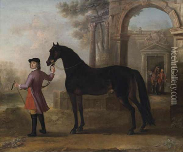 Lord Orrery's Horse, Nobby, Held By His Groom Oil Painting - John Wootton