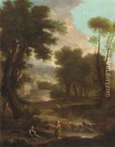 A Landscape With A Shepherd And Shepherdess By A River, Classicalbuildings Beyond Oil Painting - John Wootton