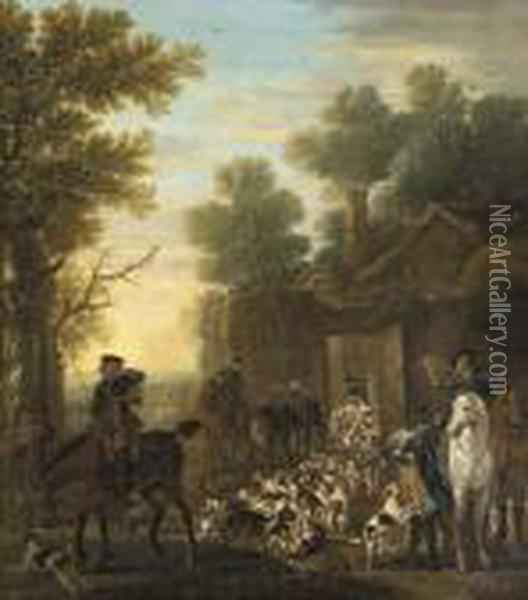 A Hunting Scene Showing The Release Of The Hounds, In A Woodedlandscape Oil Painting - John Wootton