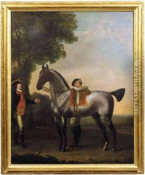 A Grey Hunter With A Groom Oil Painting - John Wootton