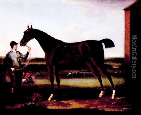 Lord Portmore's Victorious Held By A Groom At Newmarket Oil Painting - John Wootton
