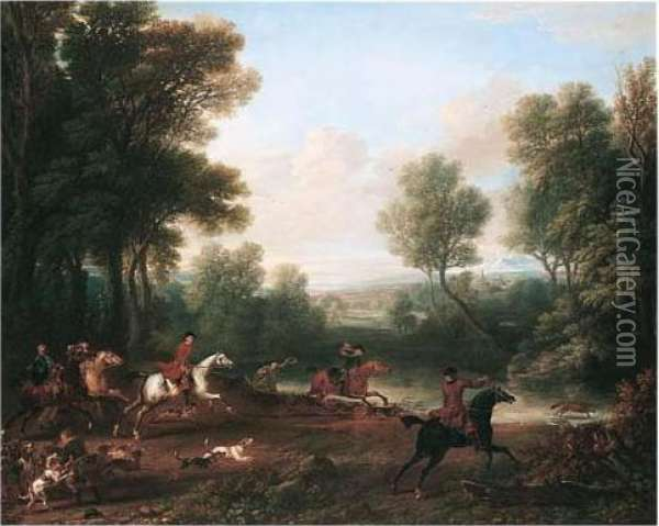 Viscount Bolingbroke's Hunting Party Oil Painting - John Wootton