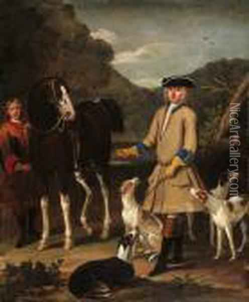 Edward, Lord Seymour, With His Horse, Groom And Dogs, In Alandscape Oil Painting - John Wootton