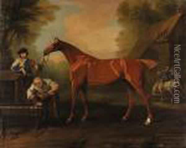 Greville, A Chestnut Thoroughbred Held By A Groom, With Otherfigures By A Barn Oil Painting - John Wootton