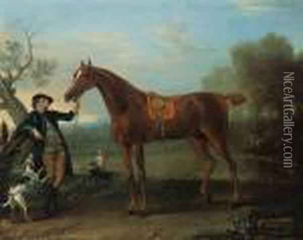 Squirrel, A Thoroughbred  Chestnut Hunter Held By A Groom, In Anextensive Wooded Landscape Oil Painting - John Wootton
